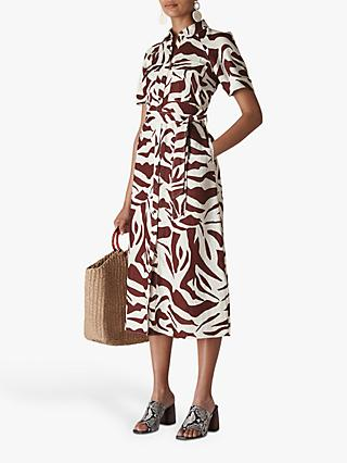 Whistles Zebra Print Linen Shirt Dress, Brown