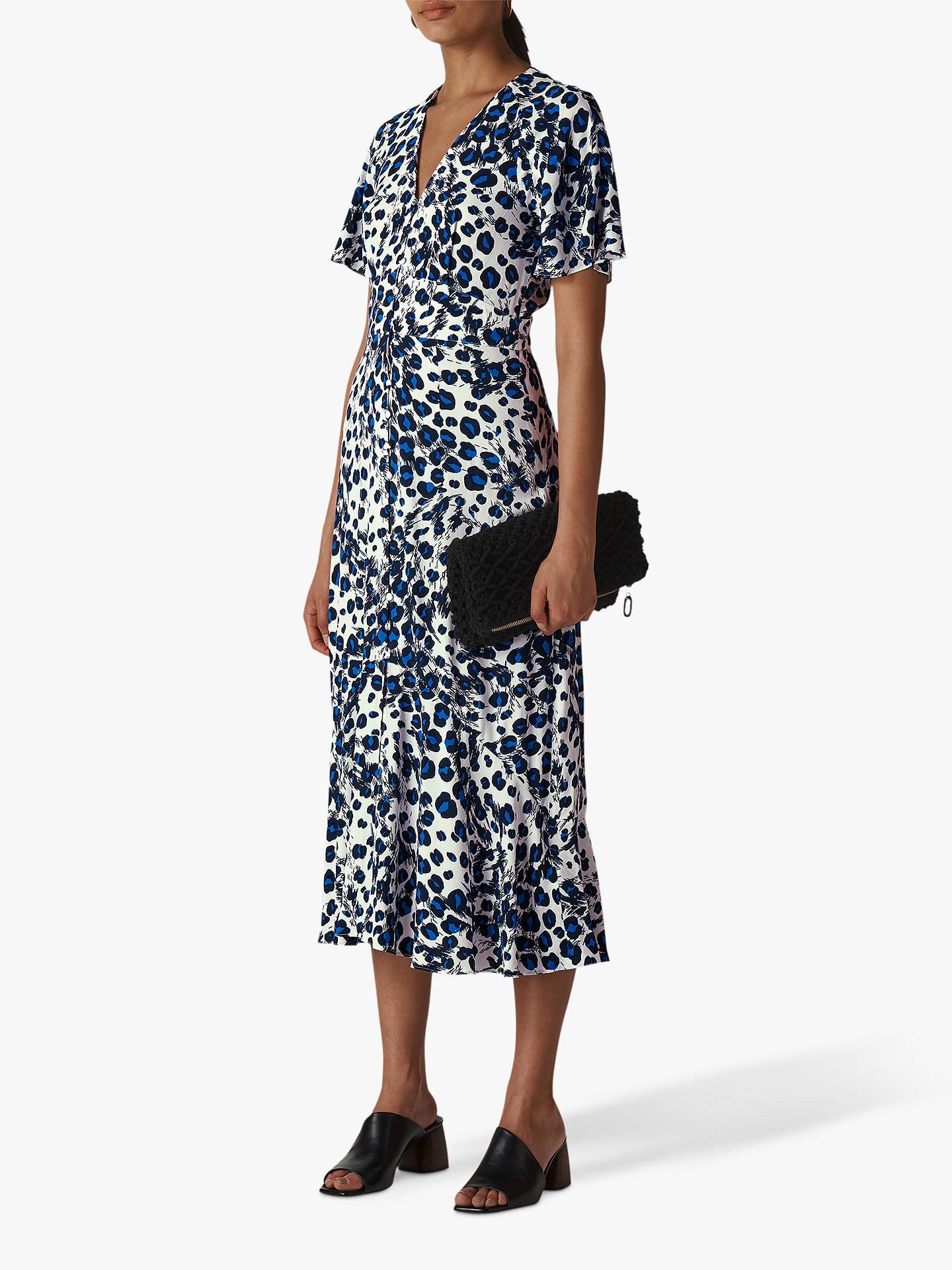 5231ef647462 Buy Whistles Brushed Leopard Button Dress, Blue/Multi, 6 Online at  johnlewis.