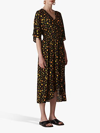 Whistles Aster Floral Wrap Dress, Black/Multi