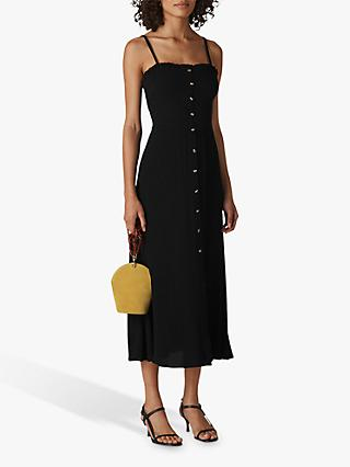 Whistles Gracia Smocked Midi Dress, Black