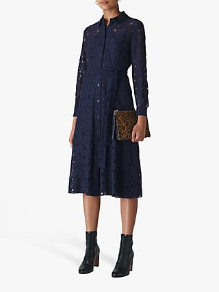 Whistles Oliviana Lace Midi Dress, Navy