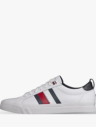 Tommy Hilfiger Flag Detail Leather Trainers, White