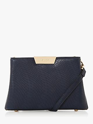 Dune Eleah Reptile Print Clutch Bag, Navy