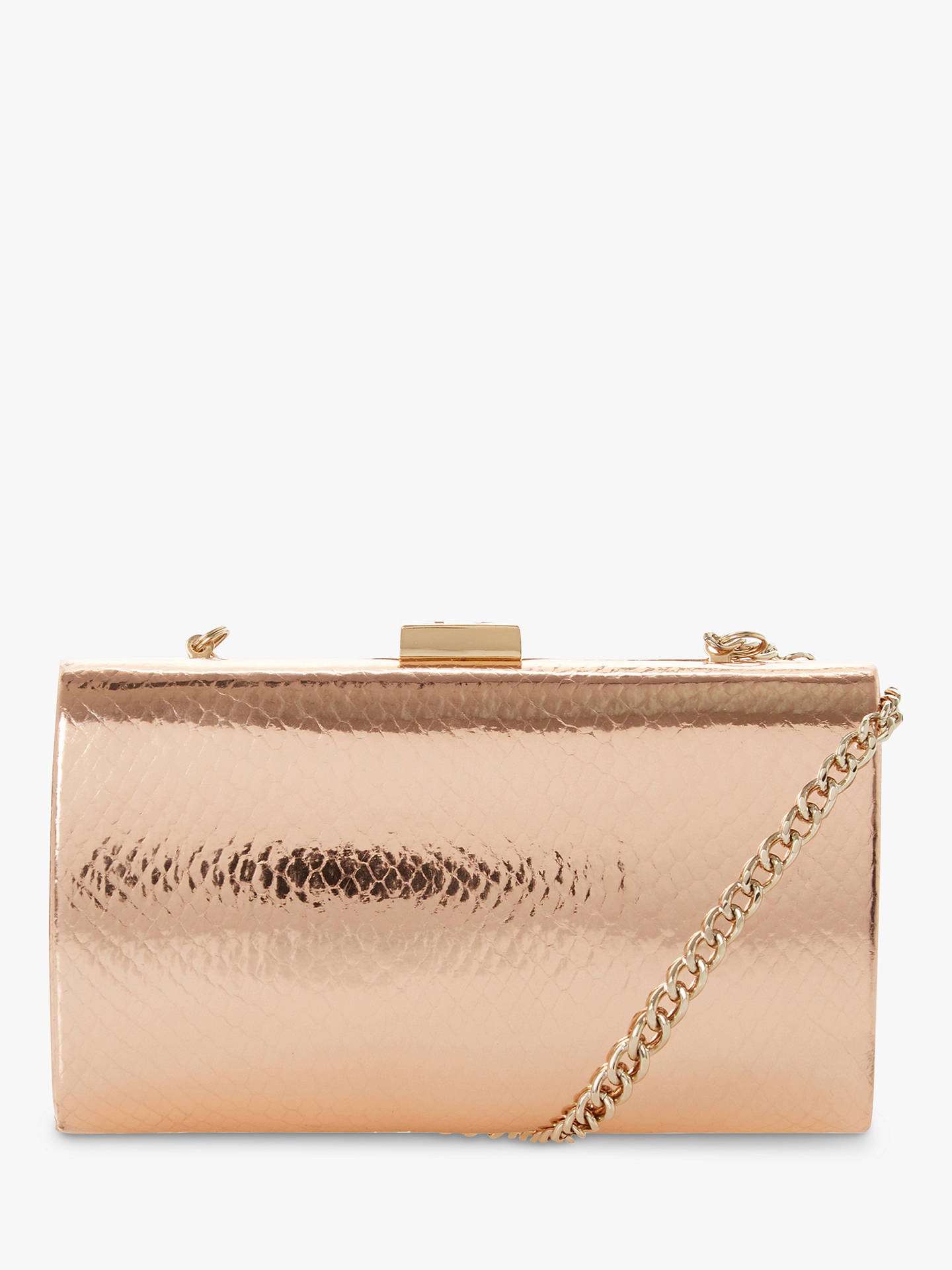 elegant and sturdy package beautiful design large discount Dune Bustle Croc Effect Clutch Bag, Rose Gold
