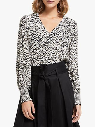 Somerset by Alice Temperley Feather Print Blouse, Natural