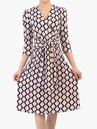 Jolie Moi Tie Front Wrap Dress, Pink Multi