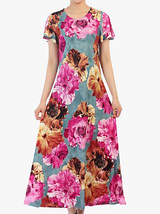 Jolie Moi Floral Print Cap Sleeve Dress, Blue/Multi