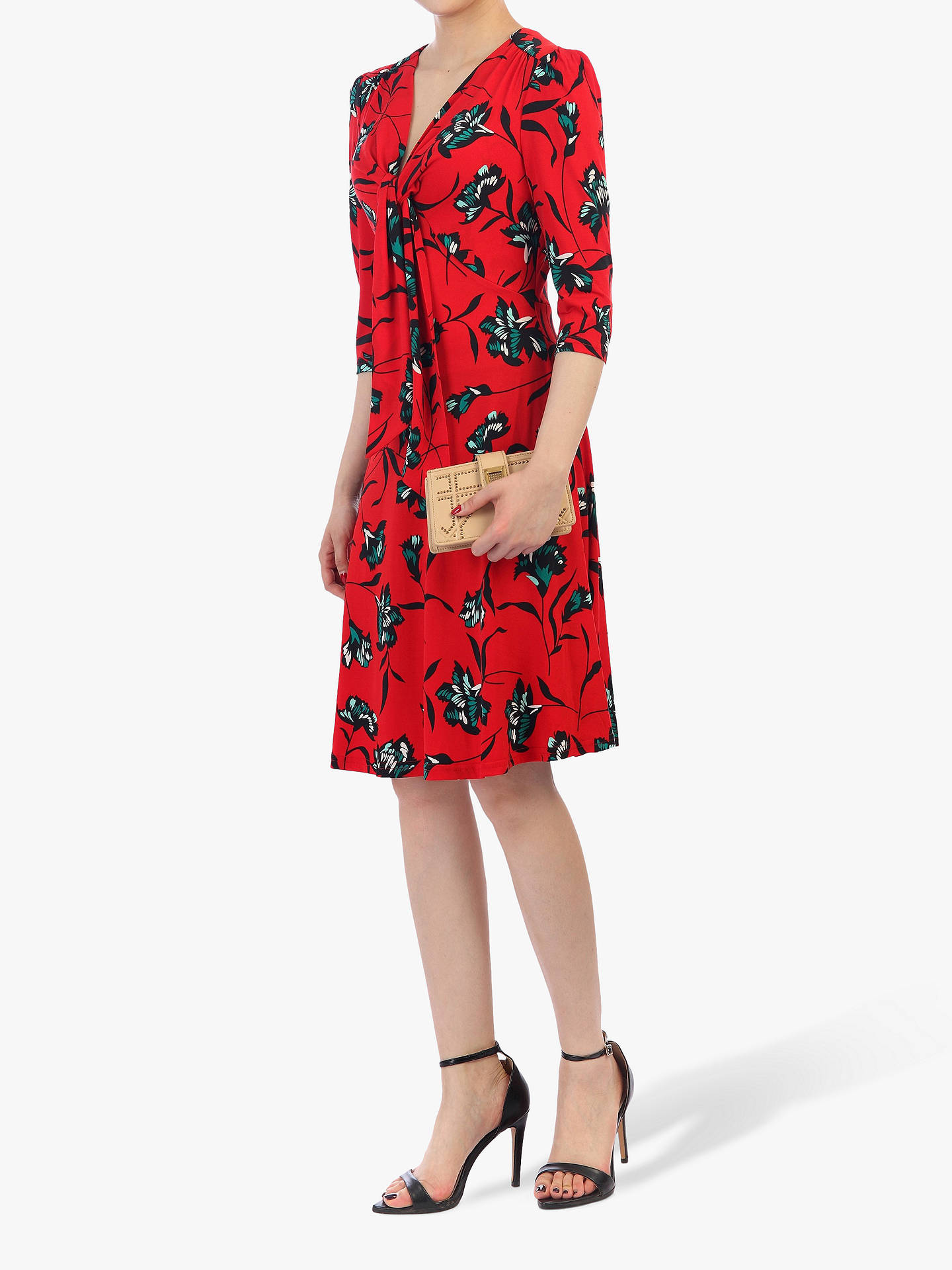 Buy Jolie Moi Print Tie Front Dress, Red Floral, 20 Online at johnlewis.com