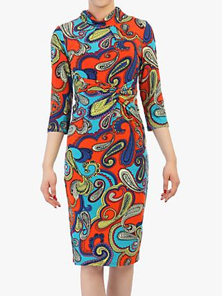 Jolie Moi Turtle Neck Shift Dress, Red Multi