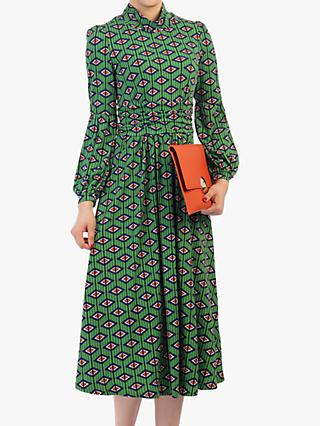 Jolie Moi Geometric Midi Dress, Green/Multi