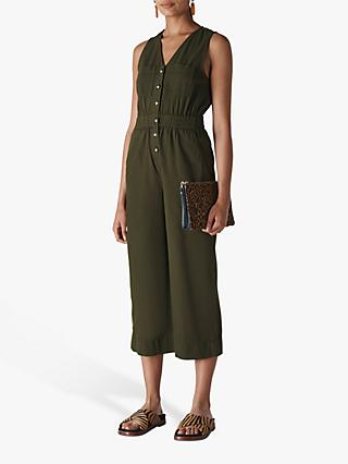 Whistles Ria Denim Jumpsuit, Khaki