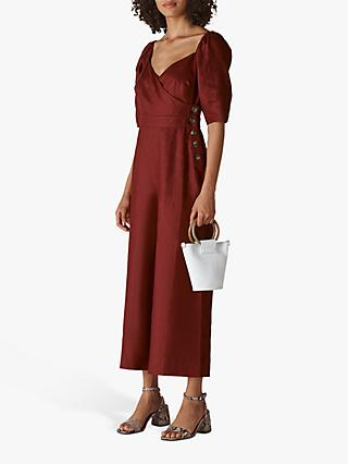 Whistles Eliza Linen Jumpsuit, Wine
