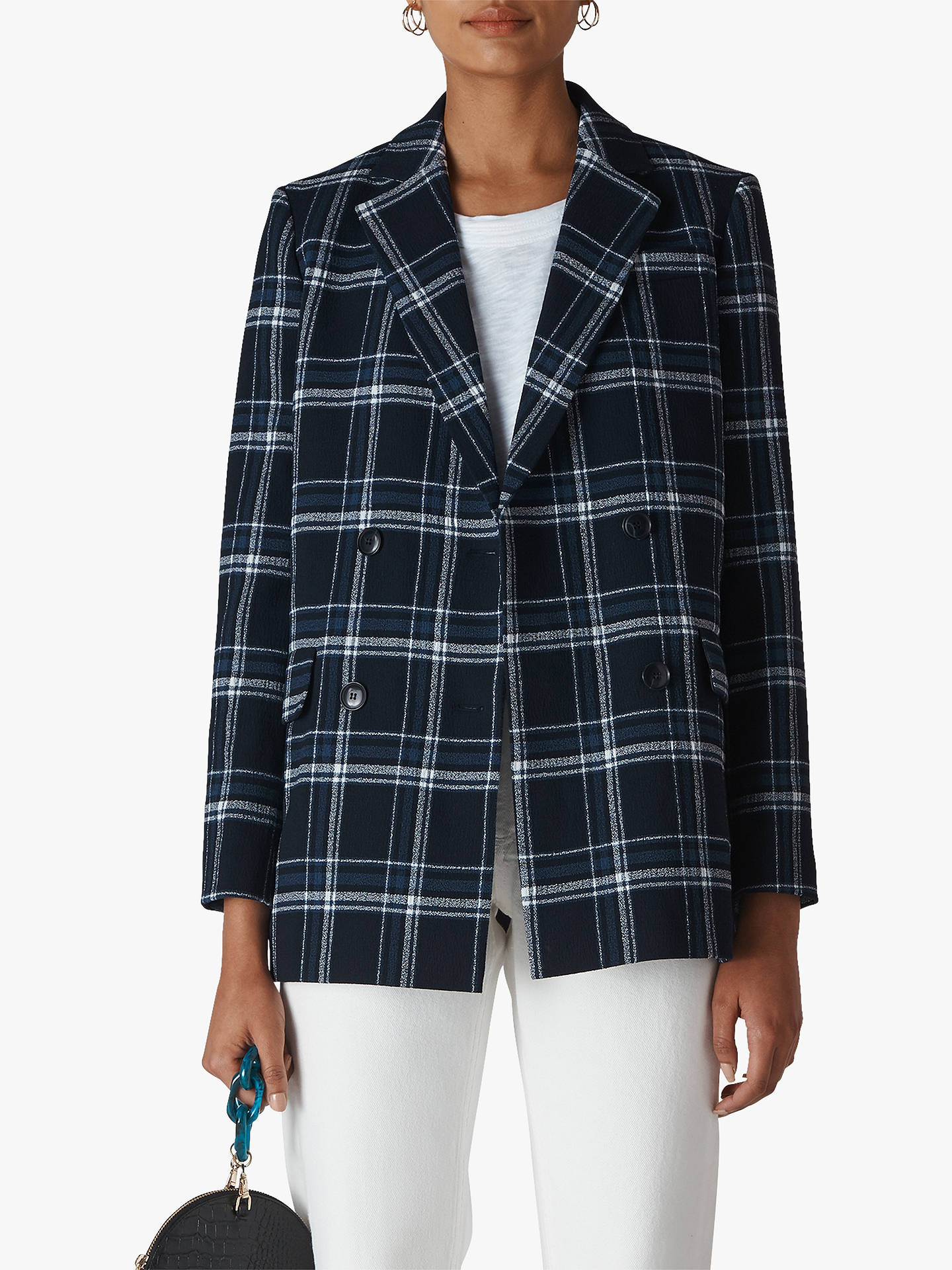 26d00b4f29be Buy Whistles Check Double Breasted Blazer, Navy/Multi, XS Online at  johnlewis.