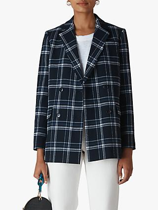 Whistles Check Double Breasted Blazer, Navy/Multi