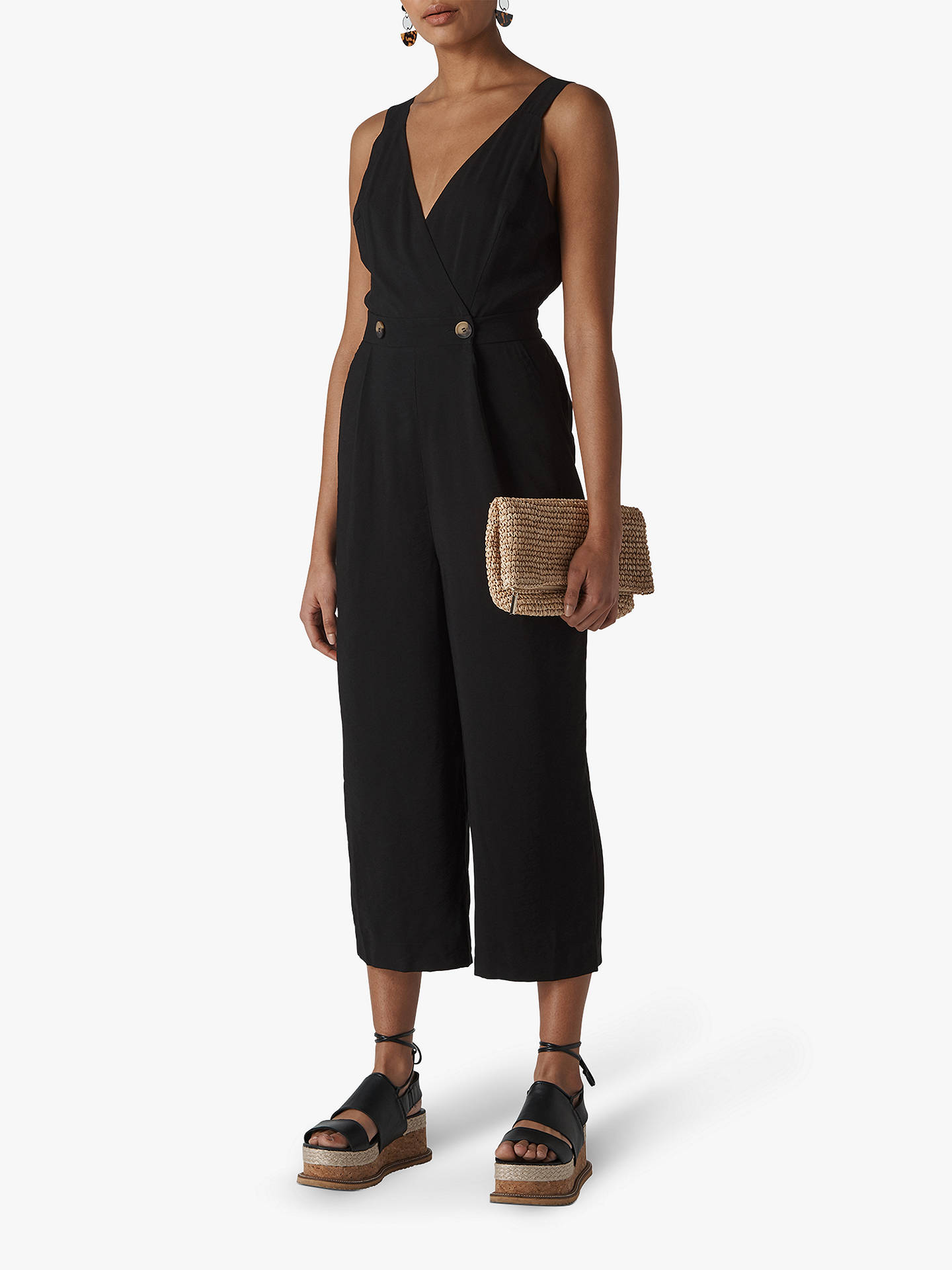 wholesale online rich and magnificent online sale Whistles Lara Jumpsuit, Black at John Lewis & Partners