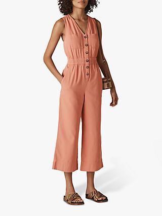 Whistles Ria Denim Jumpsuit, Dusty Pink