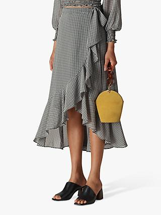 Whistles Gingham Wrap Midi Skirt, Black/White