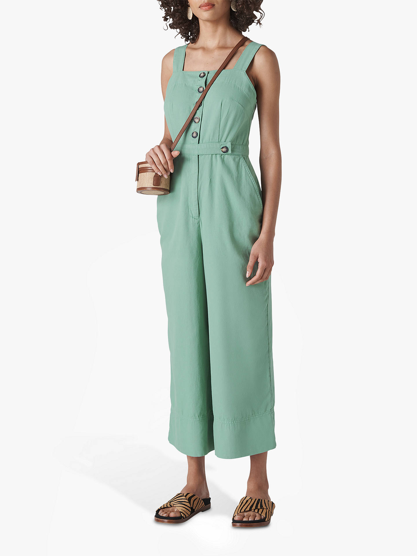 best choice select for clearance 100% authentic Whistles Tia Denim Button Detail Jumpsuit, Pale Green, Pale Green