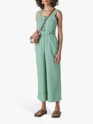 Whistles Tia Denim Button Detail Jumpsuit, Pale Green