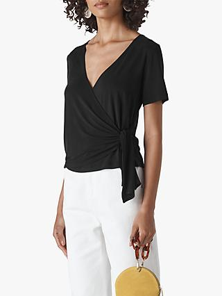 Whistles Angel Sleeve Wrap Top, Black