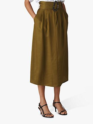 Whistles Rosita Buckle Skirt, Khaki