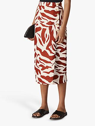 Whistles Linen Zebra Print Skirt, Multi