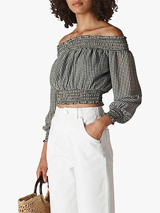 Whistles Gingham Bardot Top, Black/White