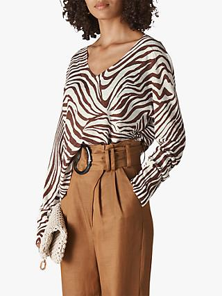 Whistles Zebra Print Linen Jumper, Brown/Multi