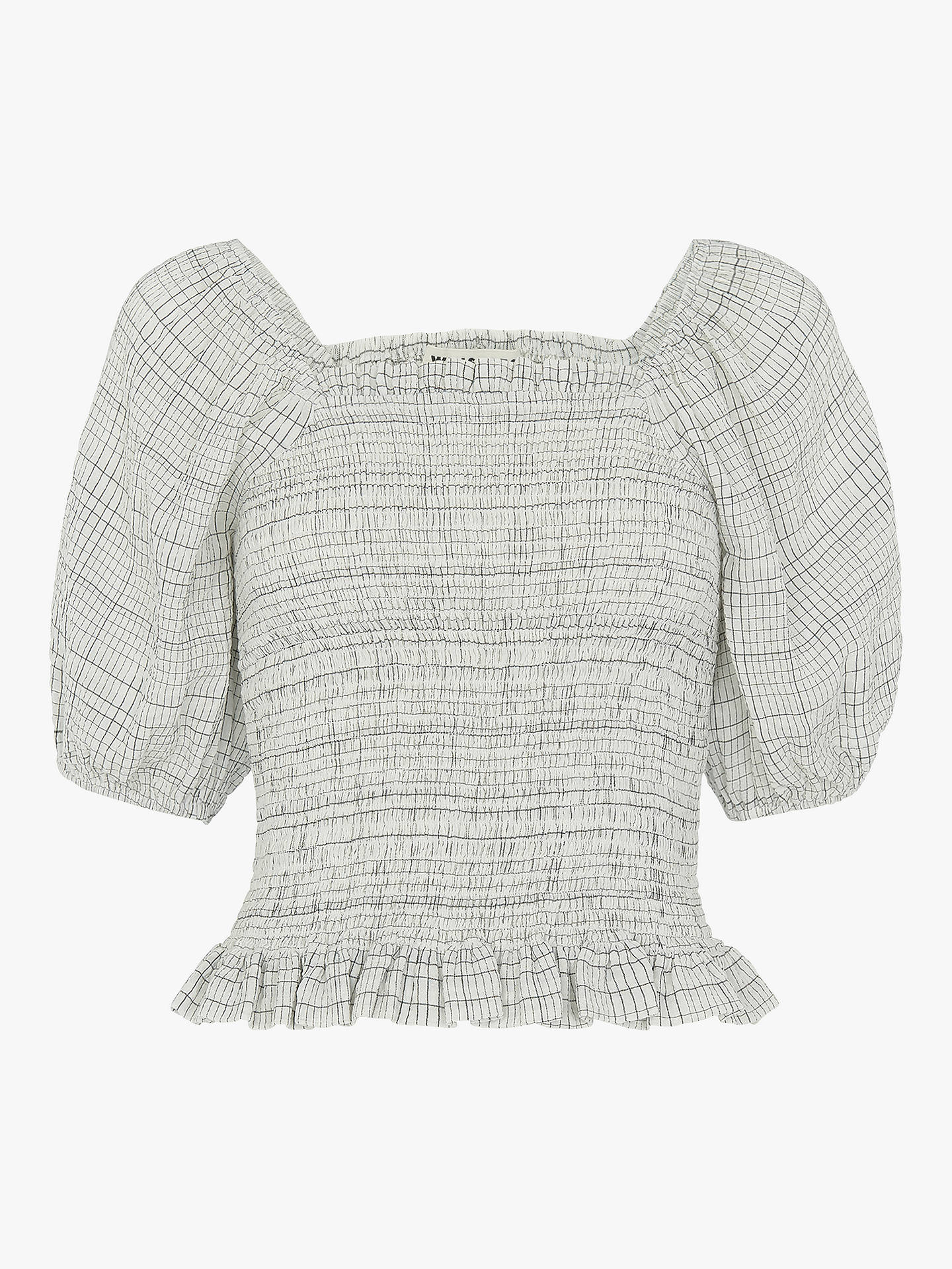 Buy Whistles Louise Check Smocked Blouse, White/Multi, 14 Online at johnlewis.com