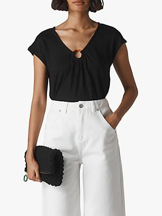 Whistles Tortoiseshell Ring Linen Top, Black