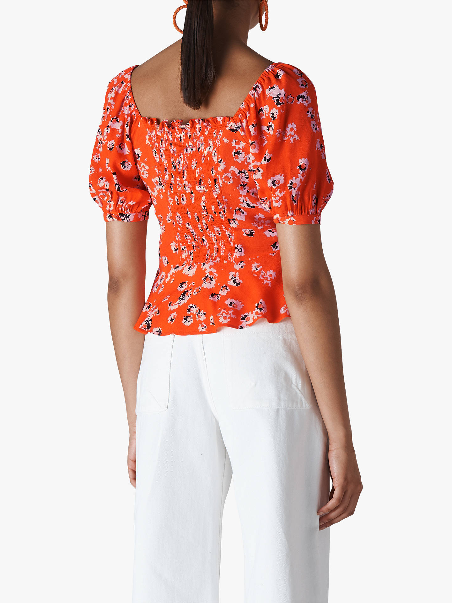 Buy Whistles Digital Daisy Top, Flame, 10 Online at johnlewis.com