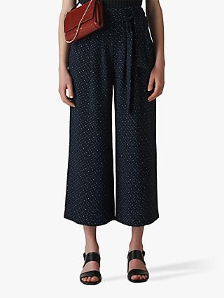 Whistles Micro Spot Tie Waist Cropped Trousers, Navy