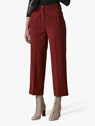 Whistles Ella Pocket Front Trousers, Burgundy