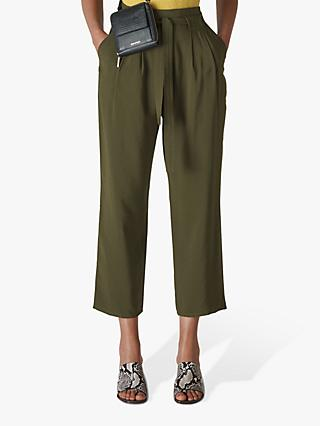 Whistles Belted Cropped Trousers, Khaki