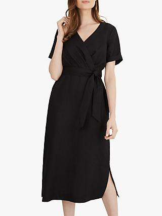 Jaeger Tie Waist Wrap Linen Dress, Black