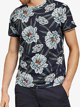8152eb80 Ted Baker Crakon Floral Printed T-Shirt, Blue Navy
