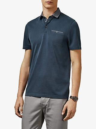 Ted Baker Aslam Woven Collar Polo Shirt, Navy Blue
