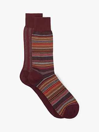 John Lewis & Partners Made in Italy Cotton Cashmere Stripe Socks, Pack of 2, Red
