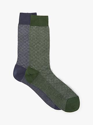 John Lewis & Partners Made in Italy Cotton Cashmere Socks, Pack of 2, Blue/Green