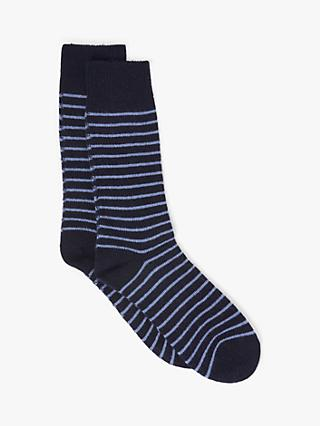John Lewis & Partners Made in Italy Cashmere Blend Breton Stripe Socks, Navy