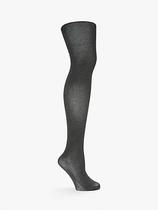 John Lewis & Partners Egyptian Cotton Blend Bodyshaper Velvet Touch Opaque Tights, Grey