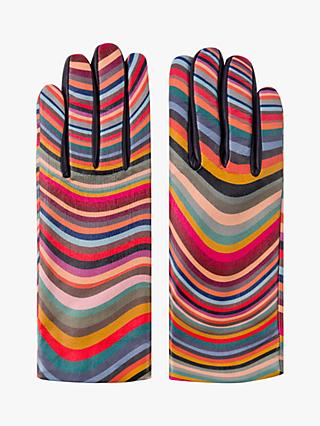 Paul Smith Swirl Stripe Leather and Wool Mix Gloves, Multi
