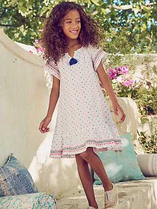 8d13298b2 Mini Boden Girls' Embroidered Trim Dress, Multi Clip Dot