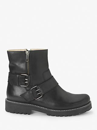 Kin Piper Leather Buckle Biker Boots, Black