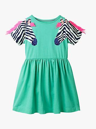 3484110366 Mini Boden Girls' Wildlife Appliqué Dress, Jungle Green Zebra