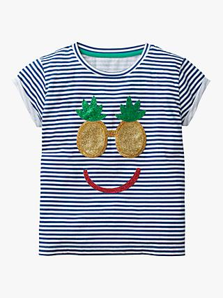 Mini Boden Girls' Shiny Applique Stripe T-Shirt, Blue/White