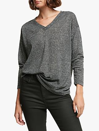 AND/OR Daria Dolman Stripe Top, Charcoal/Silver