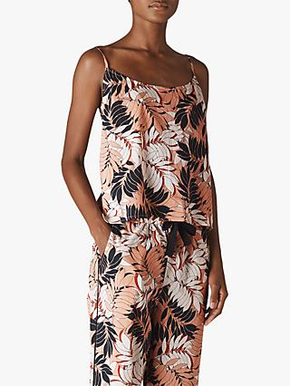Whistles Fern Print Cami Top, Pink Blush