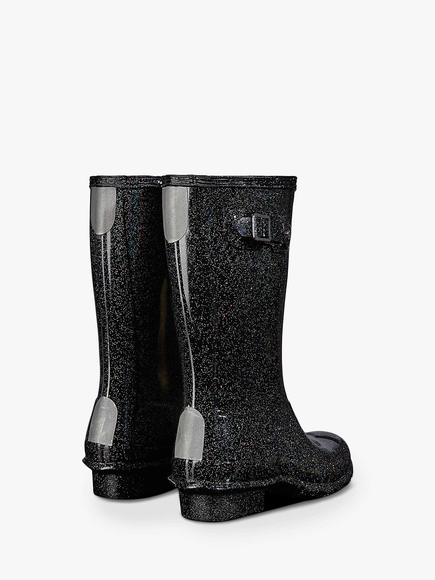 Hunter Children S Original Starcloud Wellington Boots Black Glitter