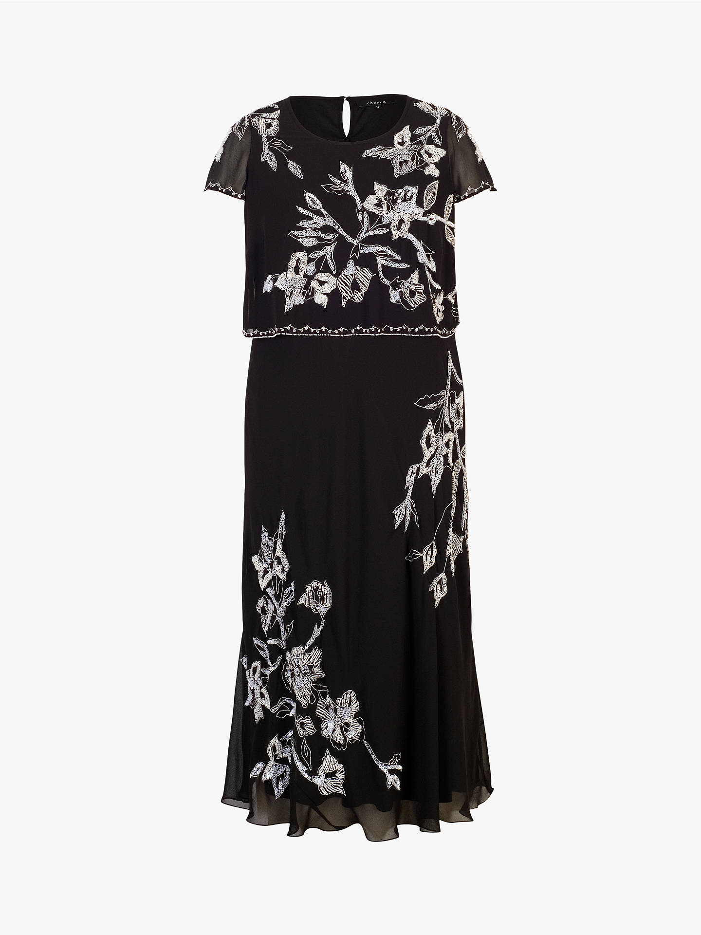 6aedad303486 ... Buy chesca Lily Bead/Embroidered Double Layered Chiffon Dress,  Black/Ivory, 14 ...